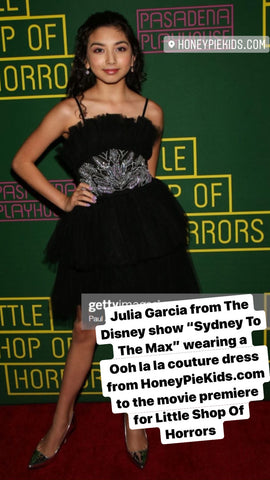 Julia Garcia from Disney show Sydney To The Max wearing a dress from Honeypiekids.com