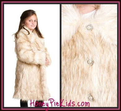 Lipstik Long Haired Faux Fur Coat | Honeypiekids