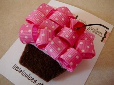 honeypiekids | Pink Ribbon Cupcake Hairclip