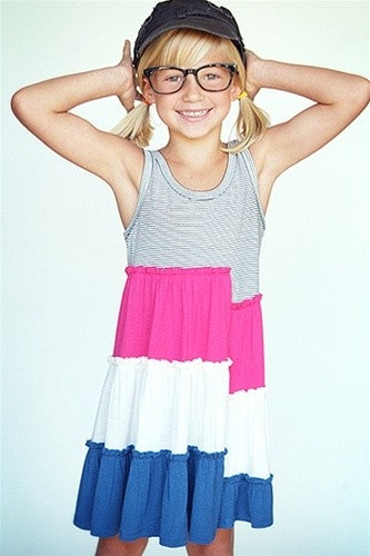 TRULY ME COLOR BLOCK DRESS WITH BOW BACK - Honeypiekids.com