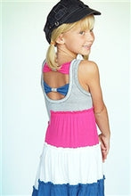 Load image into Gallery viewer, TRULY ME COLOR BLOCK DRESS WITH BOW BACK - Honeypiekids.com