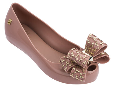Mini Melissa Ultra Girl Rose Gold Shoes With Speckled Gold Bow Shoes | Honeypiekids