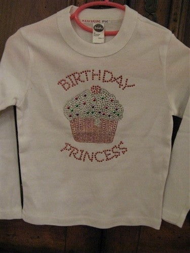 Attitude Pie Jeweled Birthday Princess Cupcake Shirt | Honeypiekids