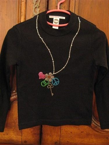 Attitude Pie Jeweled Necklace Shirt (black) | Honeypiekids