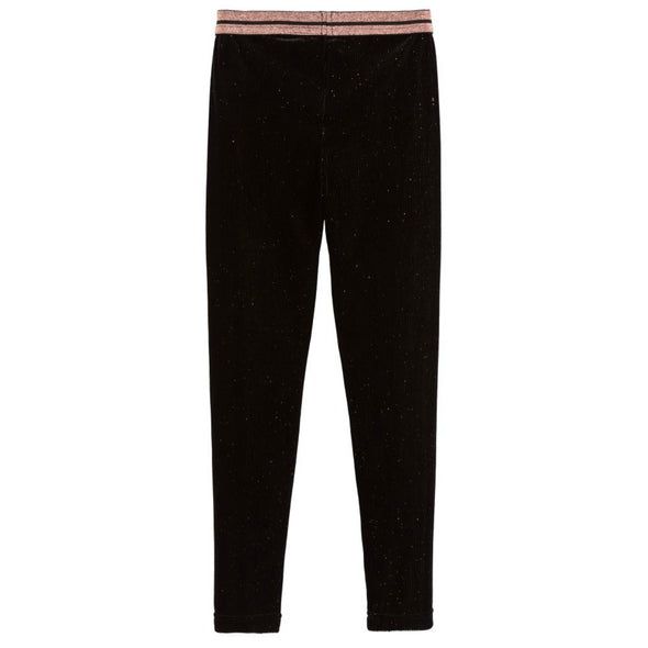 Honeypiekids | 3Pommes Girls Sparkly Black Velour Corduroy Leggings
