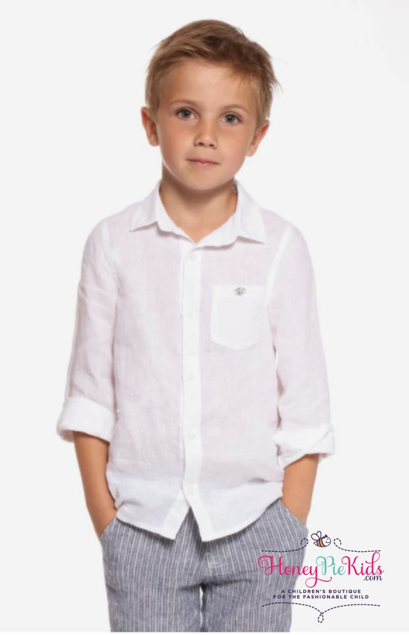 honeypiekids | 3pommes Boys White Button Down Linen Shirt.