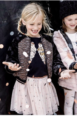 honeypiekids | 3Pommes Girls Black & Rose Gold Faux Fur Zip Up Jacket