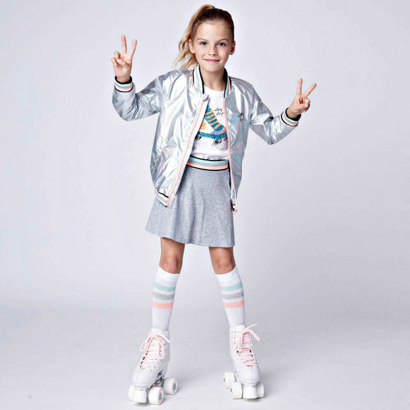 Honeypiekids | 3Pommes Girls Irridescent Silver Jacket