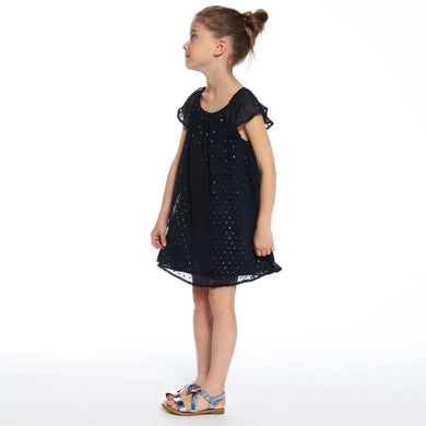 3Pommes Girls Navy Robe A Manches Dress