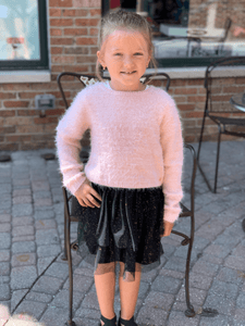 3Pommes Girls Pink Sweater & Black Tulle Dress Set