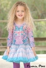 French Pink Butterfly Blue Tutu Dress