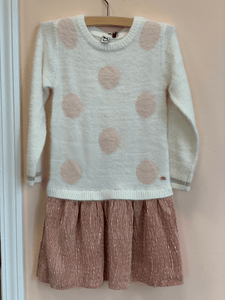 3Pommes White and Pink Polka Dot Sweater Dress