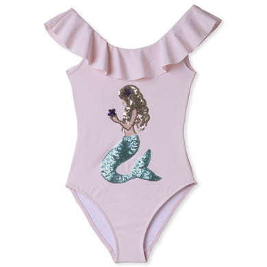 Stella Cove Pink Mermaid Applique One Piece Swimsuit - Honeypiekids.com