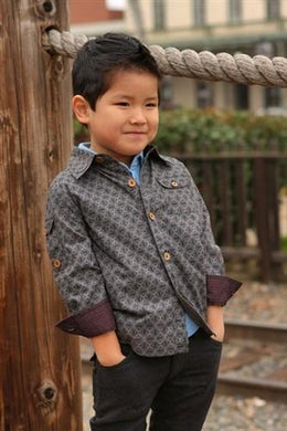English Plaid Lampshade Print Roll Up Cuff Shirt - Honeypiekids
