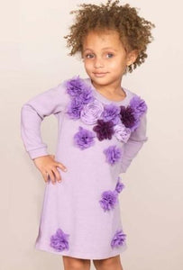 Halabaloo Lilac Sweater Dress With Flowers - Honeypiekids.com