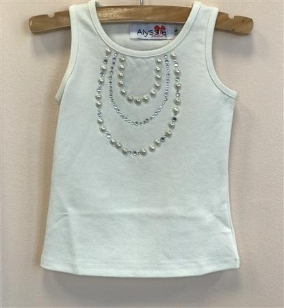 Honeypiekids | ALYSSIA COUTURE CREAM PEARL NECKLACE TANK STYLE TOP