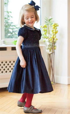 ANTOINETTE PARIS ANASTASIA NAVY HAND SMOCKED DRESS - Honeypiekids