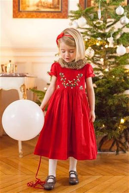 honeypiekids | Antoinette Paris SCARLET RED HAND SMOCKED DRESS