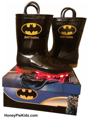 honeypiekids | Batman Logo Light Up Rubber Boots