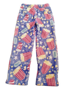 honeypiekids | Candy Pink Fleece Pajama Bottoms in Movie Night Pattern