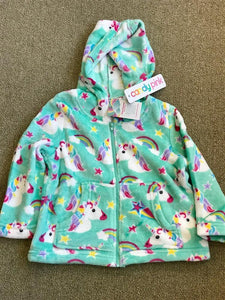 Candy Pink Fleece Zip Up Jacket In Unicorn Pattern | Honeypiekids