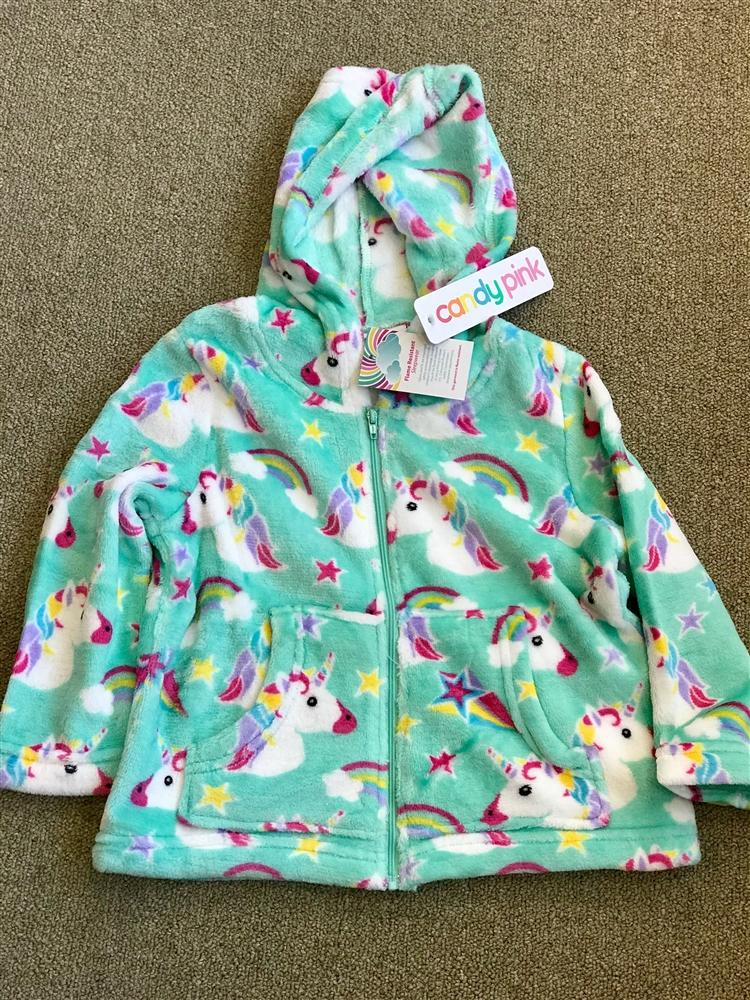 Candy Pink Fleece Zip Up Jacket In Unicorn Pattern - Honeypiekids