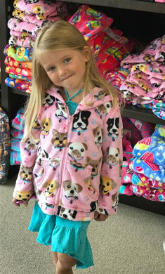 honeypiekids | Candy Pink Fleece Zip Up Jacket In Puppy Pattern
