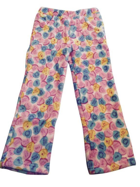 Honeypiekids | Candy Pink Fleece Pajama Bottoms in Candy Hearts Pattern