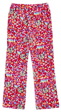 honeypiekids | Candy Pink Fleece Pajama Bottoms in Candy Shop Pattern