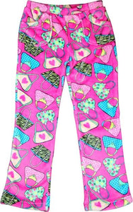 Candy Pink Fleece Pajama Bottoms in Hand Bag Pattern - Honeypiekids.com