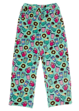 honeypiekids | Candy Pink Fleece Pajama Bottoms in Hot Chocolate Pattern