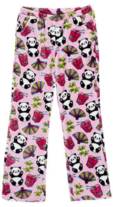 honeypiekids | Candy Pink Fleece Pajama Bottoms in Panda Pattern