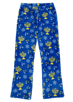 honeypiekids | Candy Pink Fleece Pajama Bottoms in Chanukah Pattern