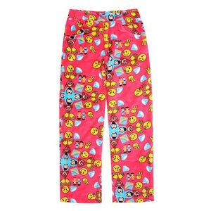 Candy Pink Fleece Pajama Bottoms in Pink Emoji Pattern - Honeypiekids