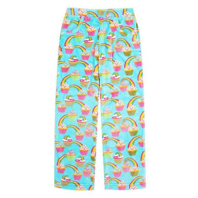 honeypiekids | Candy Pink Fleece Pajama Bottoms in Rainbow Cupcakes Pattern