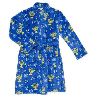 honeypiekids | Candy Pink Fleece Robe in Chanukah Pattern