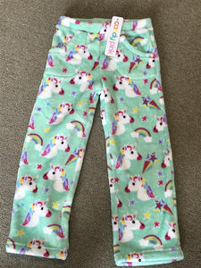 honeypiekids | Candy Pink Fleece Pajama Bottoms in Unicorn Pattern