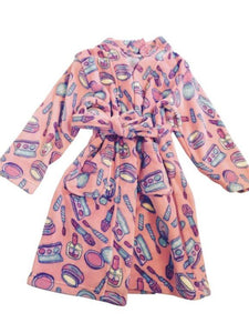honeypiekids | Candy Pink Fleece Robe In Makeup pattern