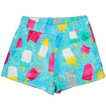 Candy Pink Fleece Pajama Shorts in Popsicle pattern | Honeypiekids