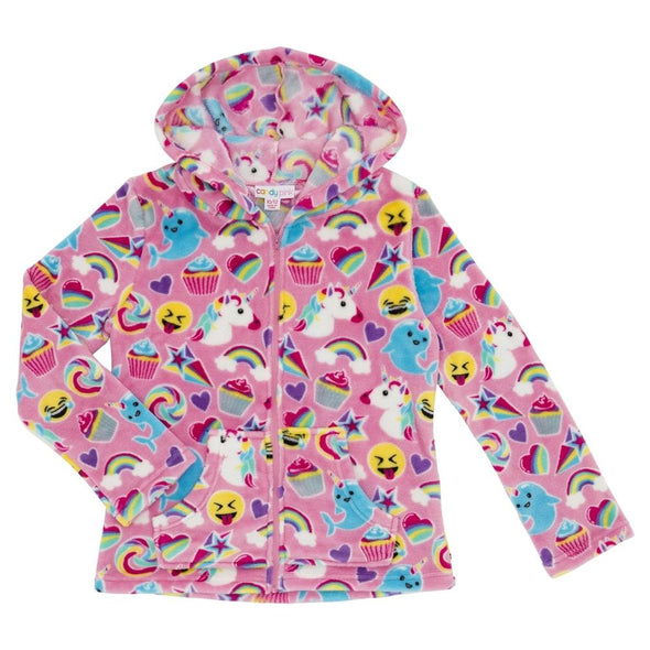 Honeypiekids | Candy Pink Fleece Pink Emoji Pattern Zip Up Hoodie