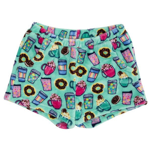 Candy Pink Fleece Pajama Shorts in Hot Chocolate Pattern - Honeypiekids
