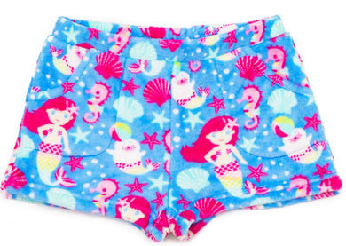 honeypiekids | Candy Pink Fleece Pajama Shorts in Mermaid Pattern