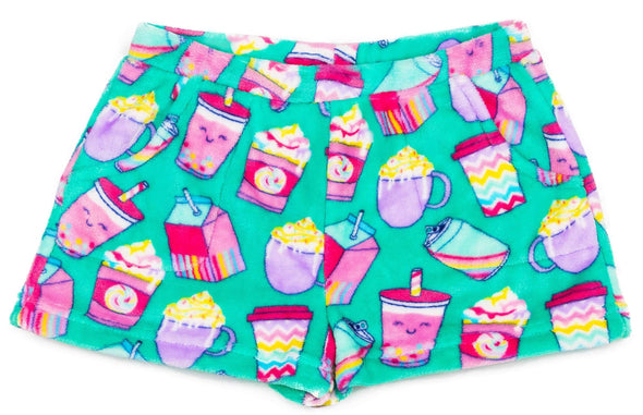 Honeypiekids | Candy Pink Fleece Pajama Shorts in Summer Drinks Pattern
