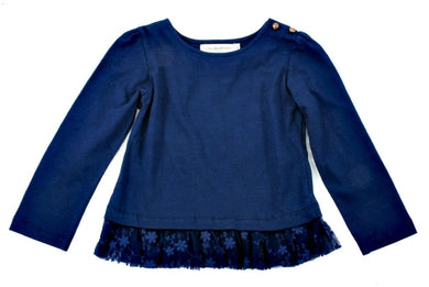 Cupcakes and Pastries Navy Peplum Knit Top - Honeypiekids