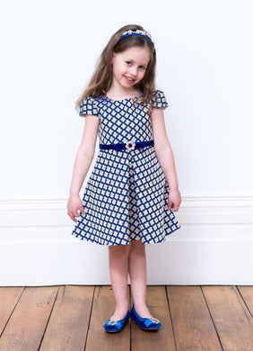 Honeypiekids | David Charles London Royal Blue & Gold Dress