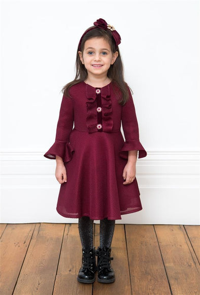 Honeypiekids | David Charles Wine Jeweled Button Dress