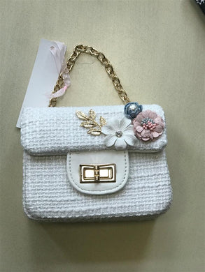 Doe a Dear White Fabric and Flower Purse | Honeypiekids