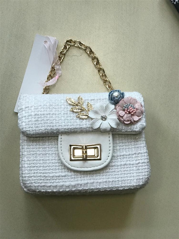 Honeypiekids | Doe a Dear White Fabric and Flower Purse