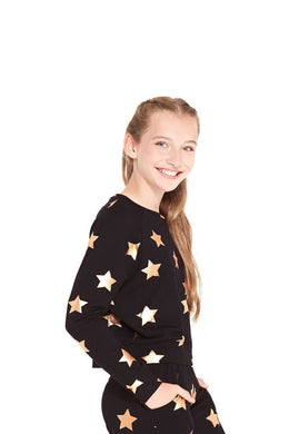 Terez Girls Rose Gold Foil Star Crewneck | Honeypiekids
