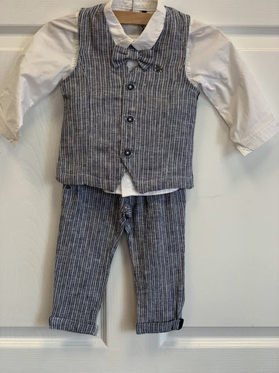Honeypiekids | 3Pommes Boys 3 piece Navy and White Striped Suit